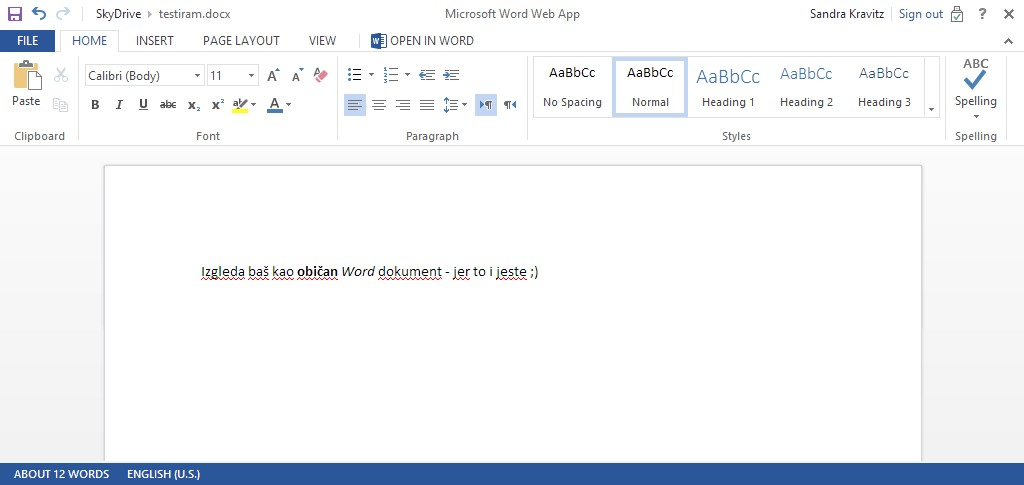 Izgled Word aplikacije na SkyDrive platformi