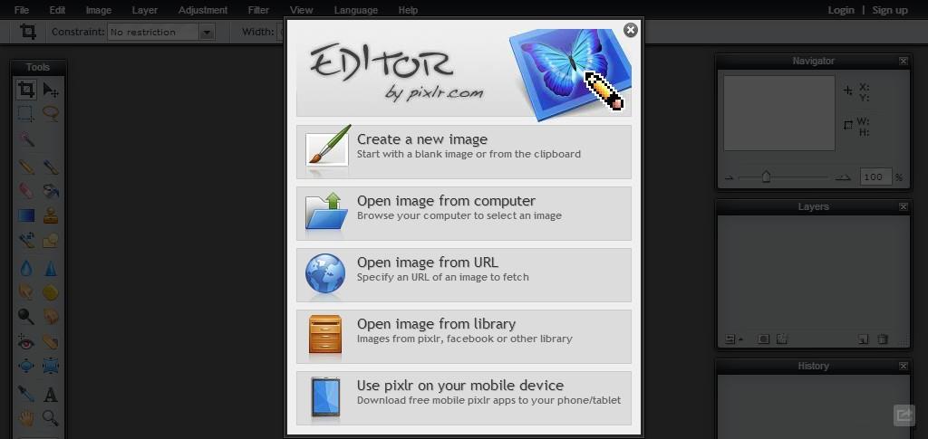 "Izgled ""Editor by pixlr.com"""
