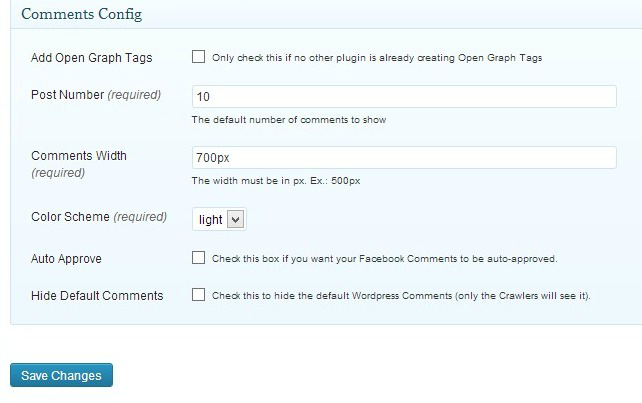 SEO facebook comments settings